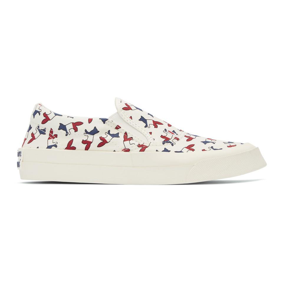 White Tricolor Fox Slip-On Sneakers Maison Kitsun ODepJs