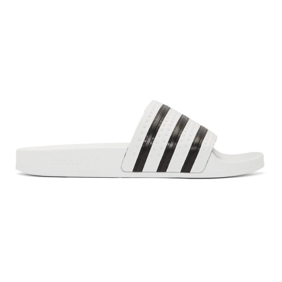 9198686c114eea Adidas Originals White And Black Adilette Sandals in White for Men ...