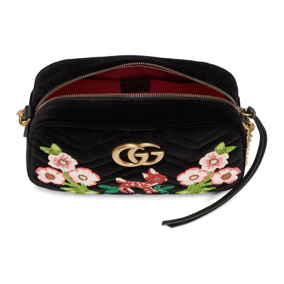 Gucci - Black Sac camera noir en velours Small GG Marmont 2.0 - Lyst.  Afficher en plein écran 9938f00fb22