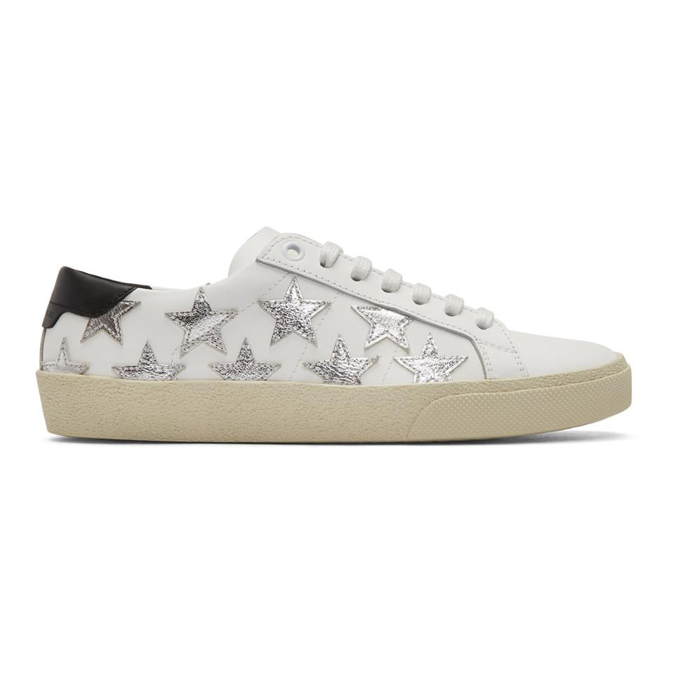 White and Silver Court Classic California Sneakers Saint Laurent UqBinW