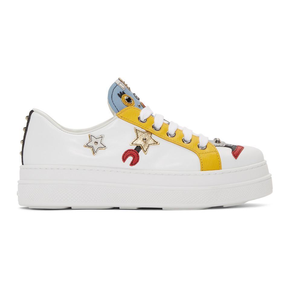 124946de823d ... amazon lyst prada white robot sneakers in white cc417 e654b ...