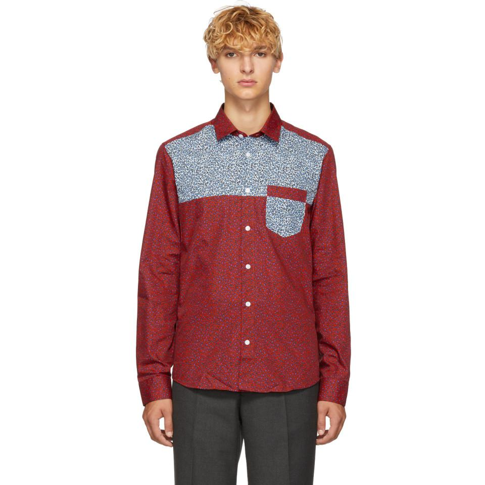 0cdc0ae3a KENZO Leopard Panel Shirt in Red for Men - Lyst