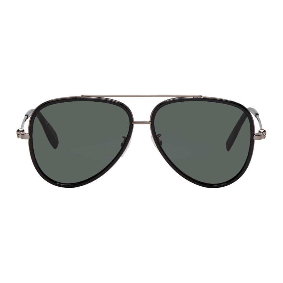 373c3567f019 Alexander McQueen Black And Gunmetal Aviator Sunglasses for Men - Lyst