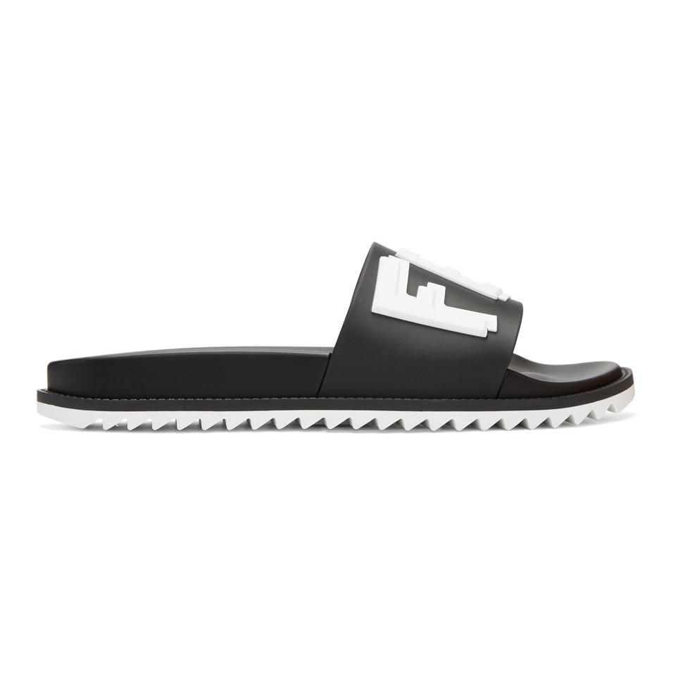 Fendi Black & Gold Rubber 'Fendi Vocabulary' Sandals for sale very cheap pick a best for sale CRysFV7EER