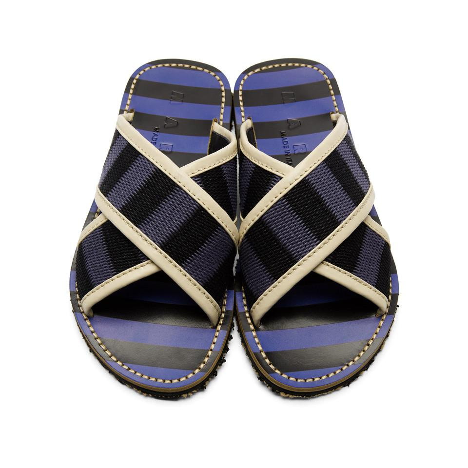 Blue and Black Striped Nastro Sandals Marni Manchester Great Sale Cheap Price Visit For Sale mAWRny