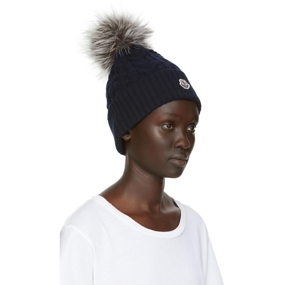 Moncler - Blue Navy Fur Cable Pom Pom Beanie - Lyst. View fullscreen bde8c5f1ea60