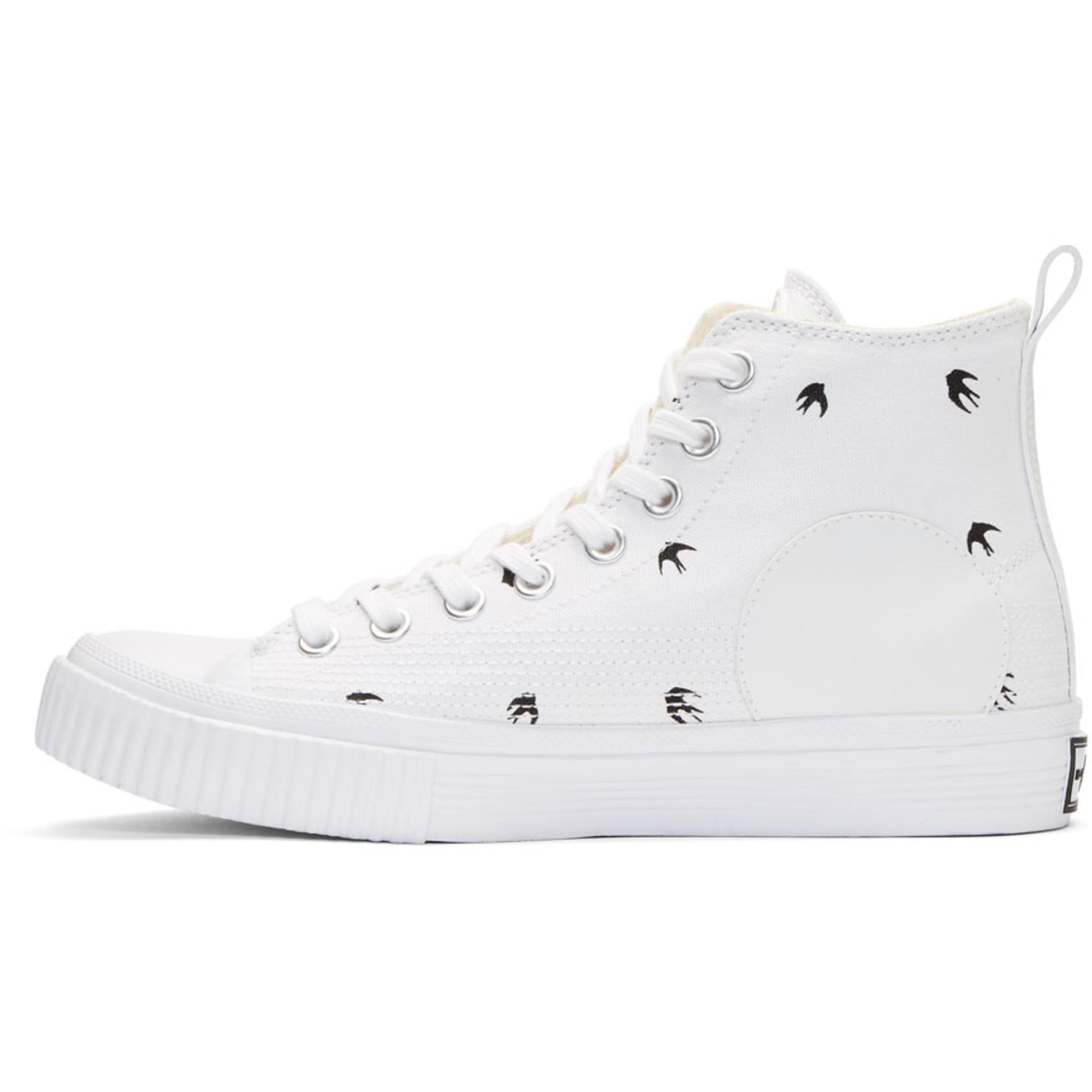 Valentino White Micro Swallow High-Top Sneakers