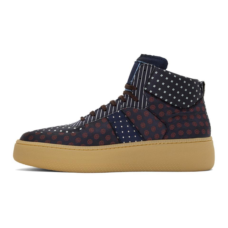 Navy Mixed Print Sneakers Maison Martin Margiela XFdgYTu