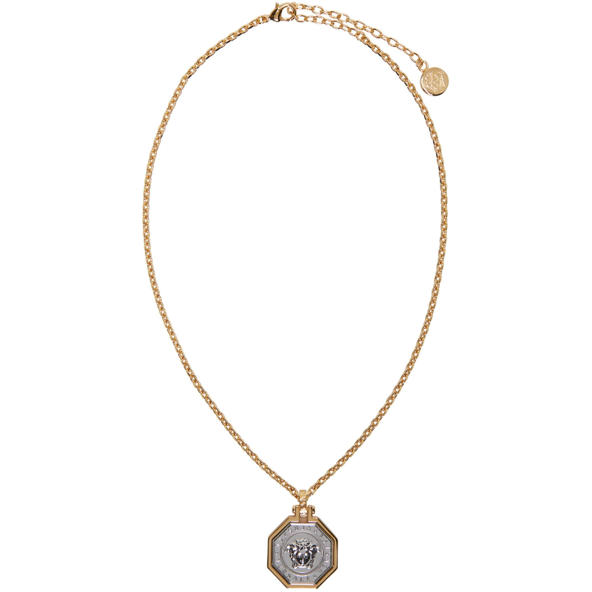 3a9a0b9469257b Versace Gold & Silver Octagon Medusa Necklace in Metallic for Men - Lyst