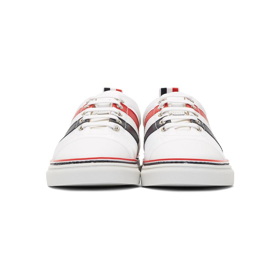 Cheap Buy Authentic Cheap Sale New Arrival White Diagonal Stripe Straight Toe Cap Sneakers Thom Browne Sale Outlet Store Discount Inexpensive Wiki Cheap Online aZQ32n2