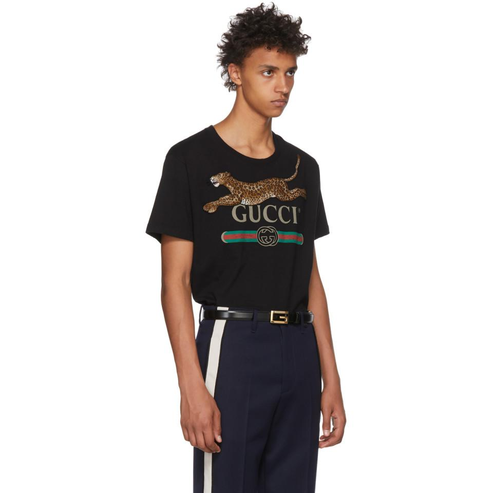Lyst - Gucci Black Classic Leopard T-shirt in Black for Men 8ea1c00911c0