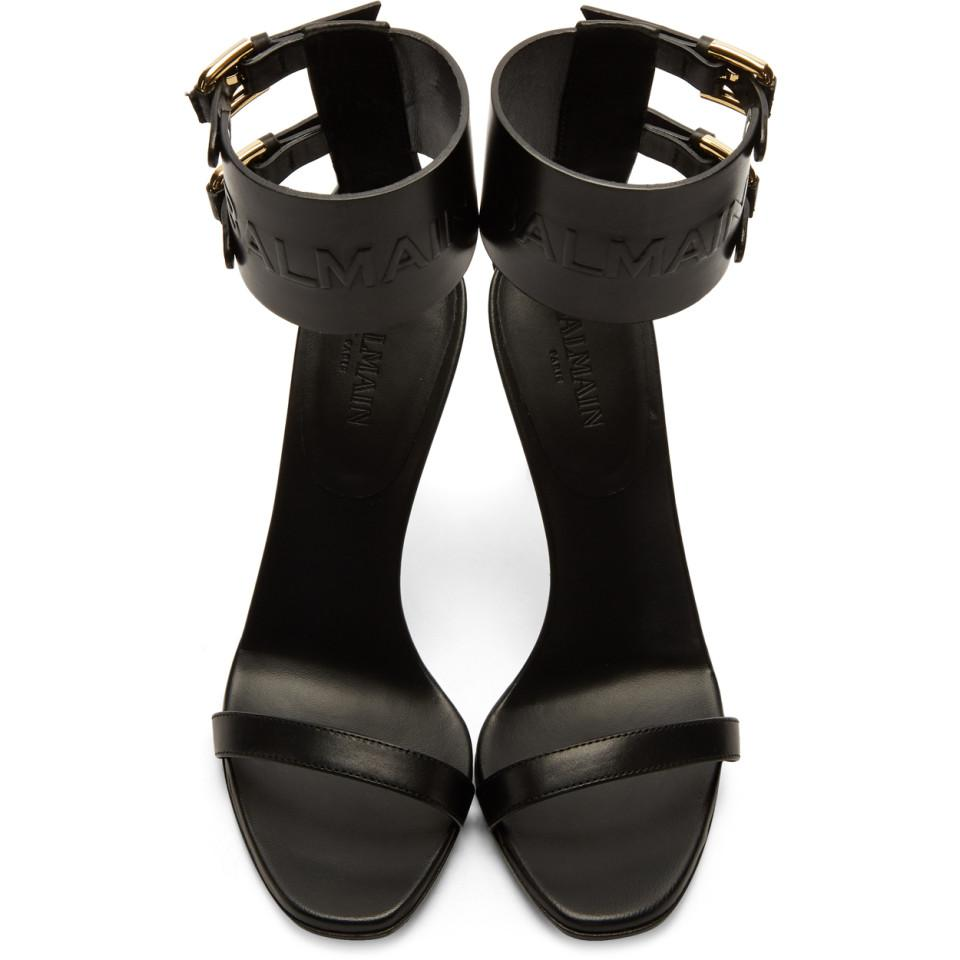 Black Logo Strap Sandals Balmain