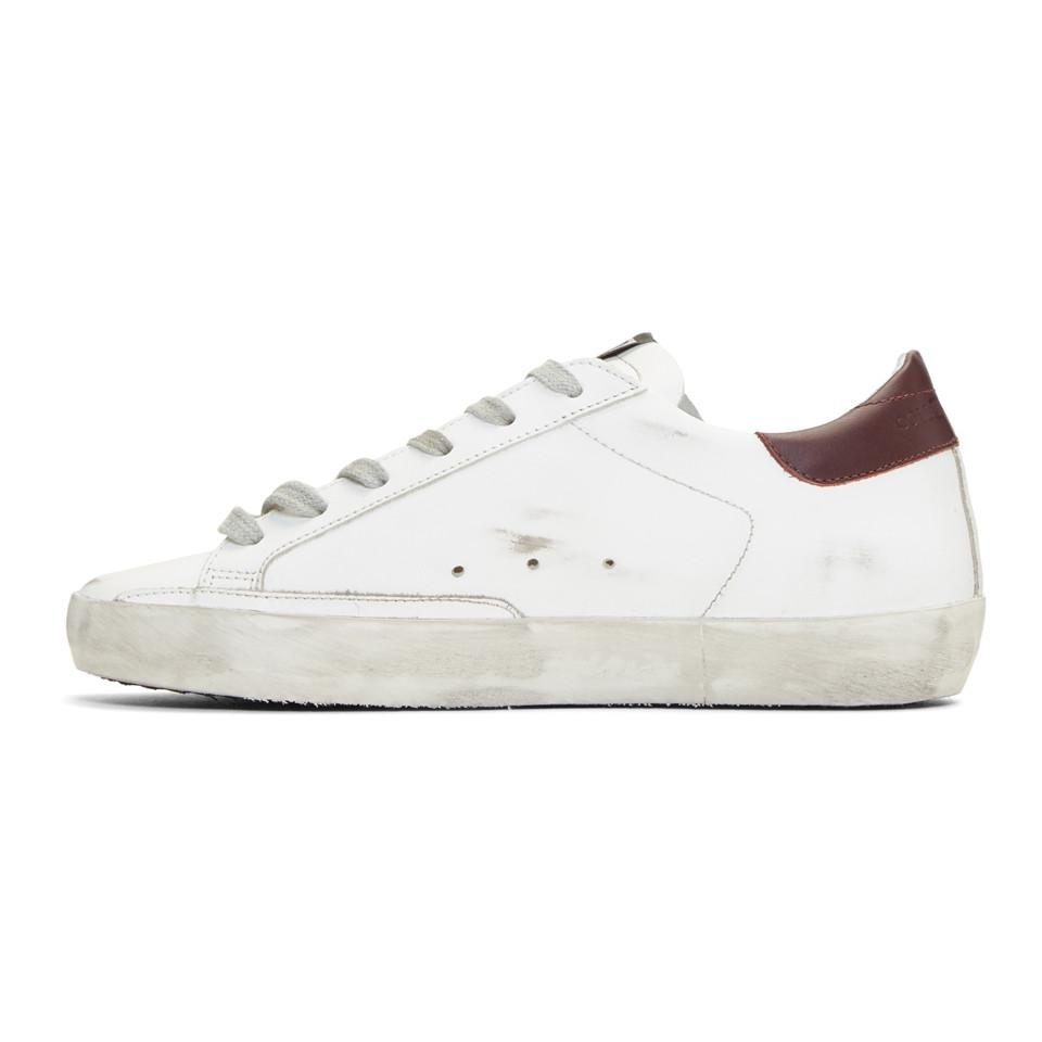 Golden Goose SSENSE Exclusive White & Burgundy Superstar Sneakers 6ly4erQ