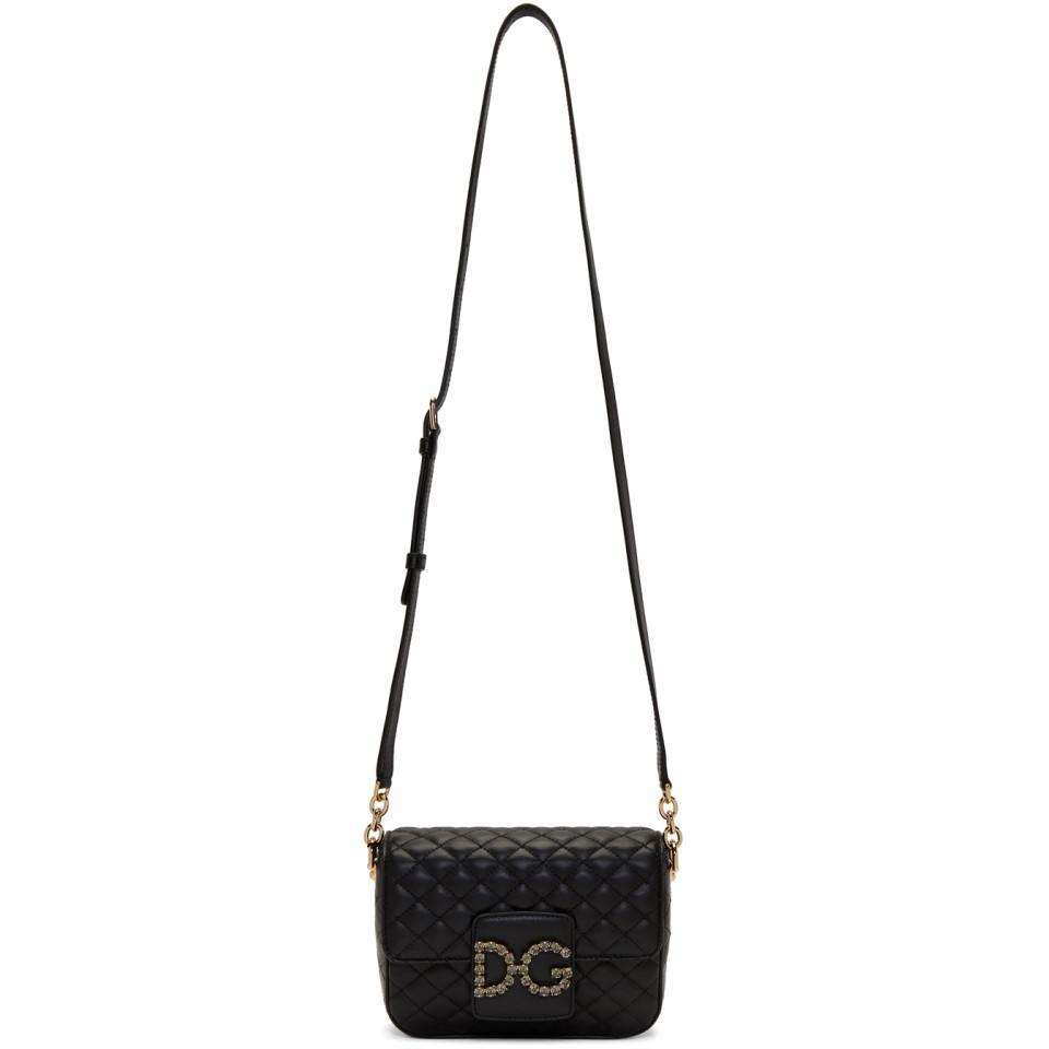 9405b66a208 Dolce   Gabbana Black Crystal Logo Bag in Black - Lyst