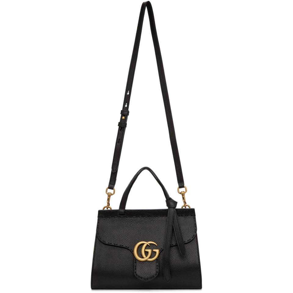 Gucci Black Mini Gg Marmont Top Handle Bag in Black - Lyst 41f9bc9cd