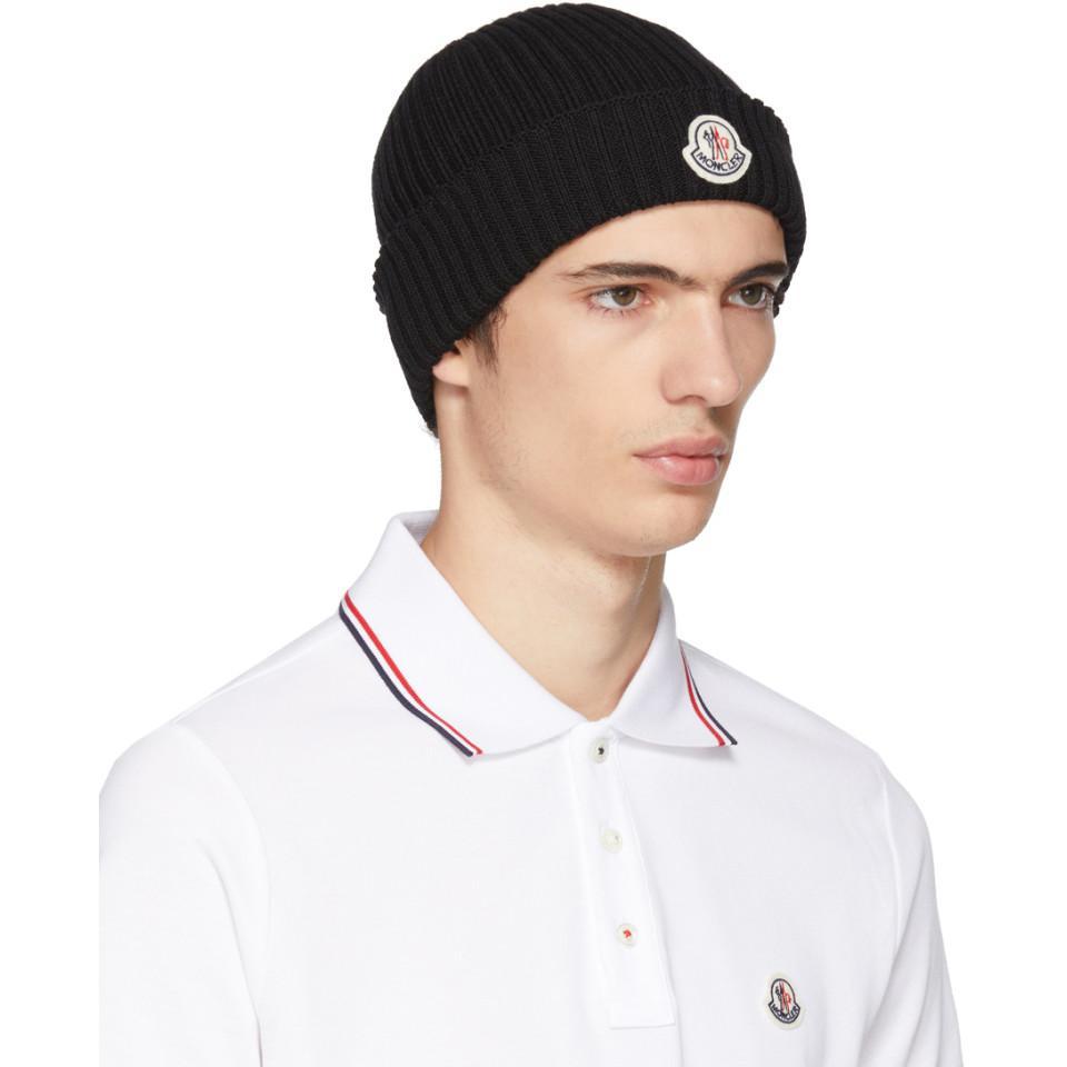 Lyst - Moncler Black Extra Fine Wool Beanie for Men 68dc5ec0bea