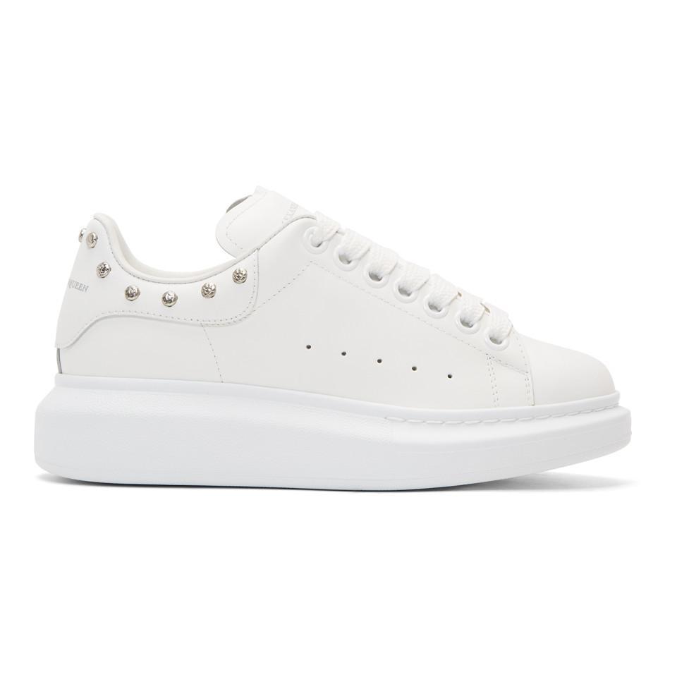 56b407189091 Alexander McQueen White Studded Oversized Sneakers in White - Lyst