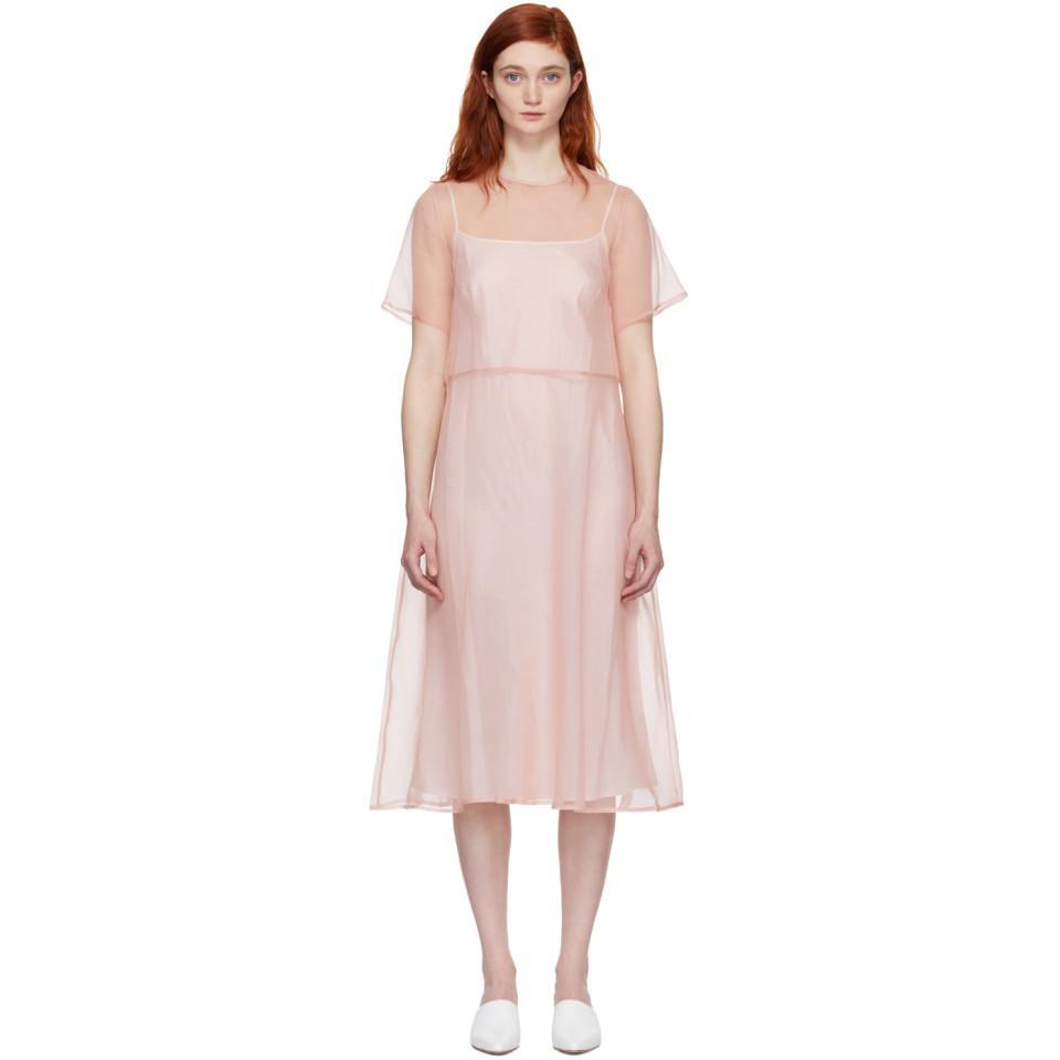 Pink Silk Voluminous Dress Mansur Gavriel lxhAjb8jt