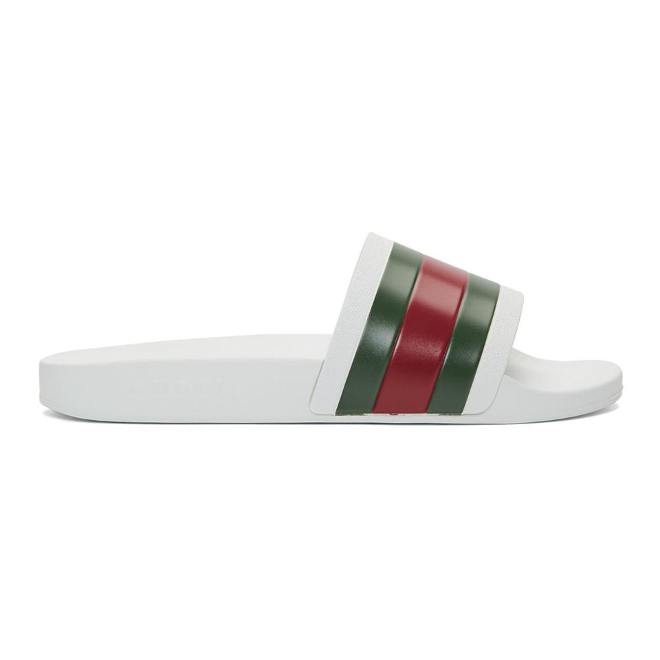 adaed4b4ddde8 Lyst - Gucci White Pursuit Slides in White for Men - Save 7%