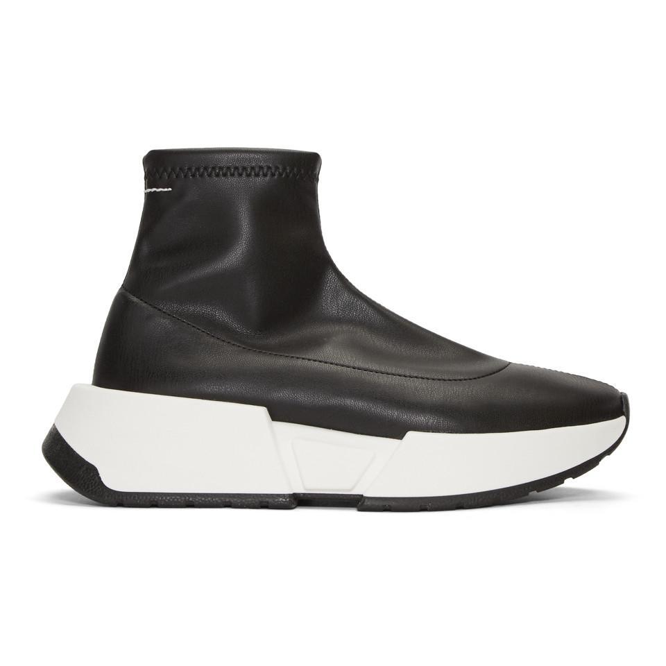 MM6 Maison Martin Margiela Black Second Skin Platform High-Top Sneakers sQq3A8eqj