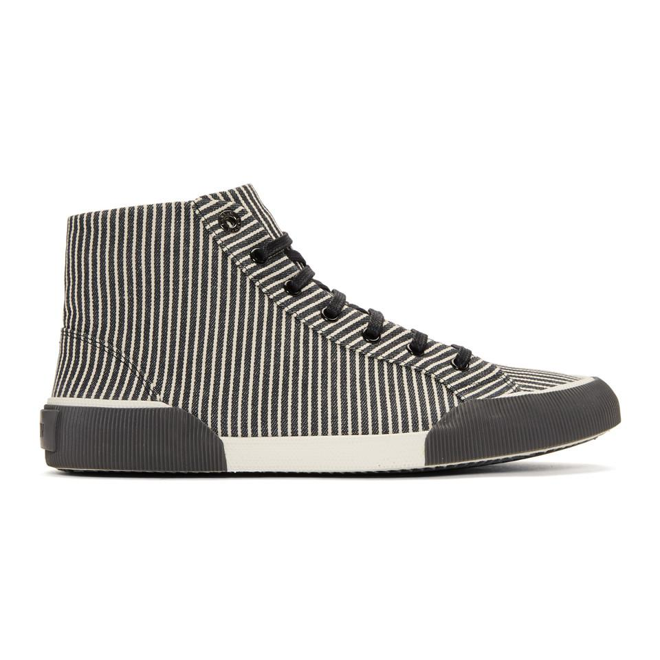 Lanvin & Striped Canvas Mid Sneakers