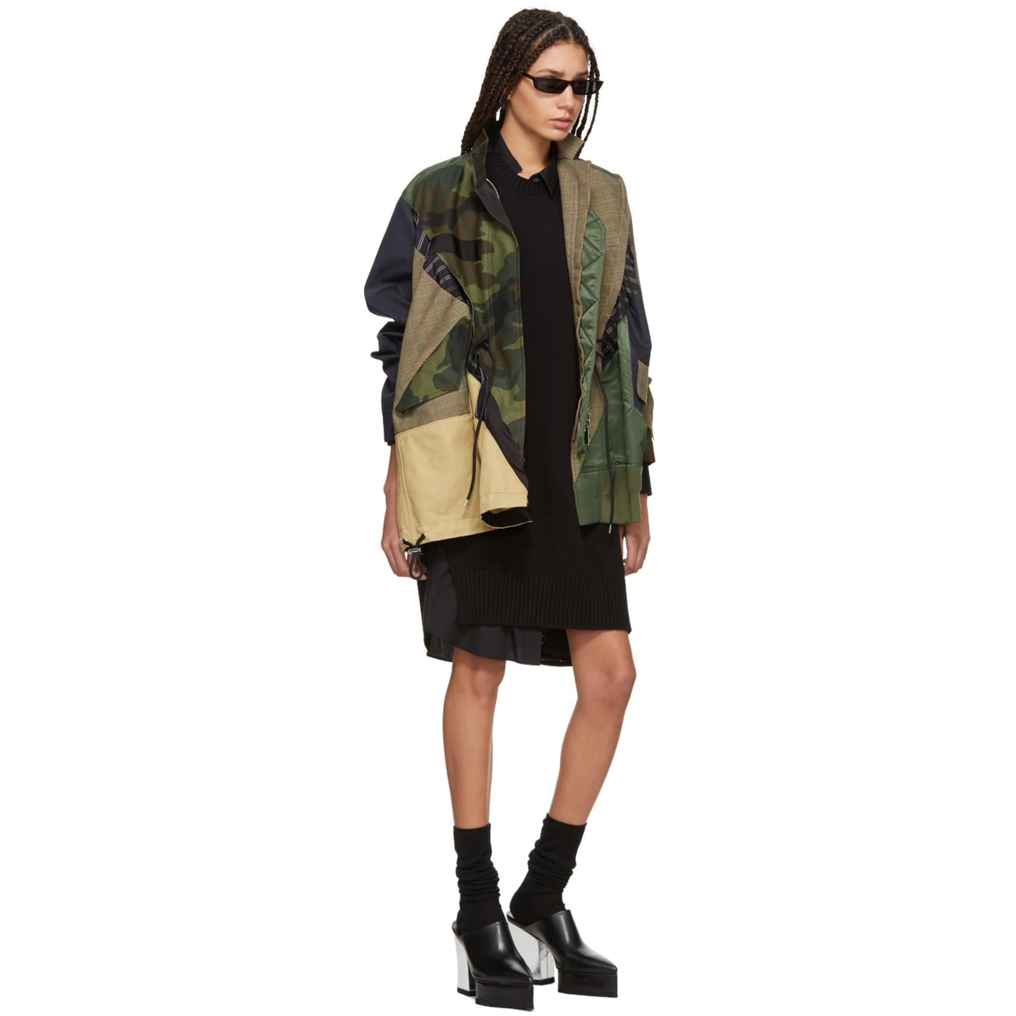 f13a4eb7919b6 Sacai Beige And Khaki Patchwork Glencheck And Camo Jacket in Natural ...