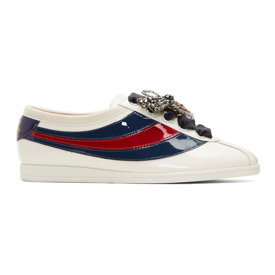 5cbfd61c6 Gucci Off-white Patent Sylvie Web Competition Sneakers in White - Lyst