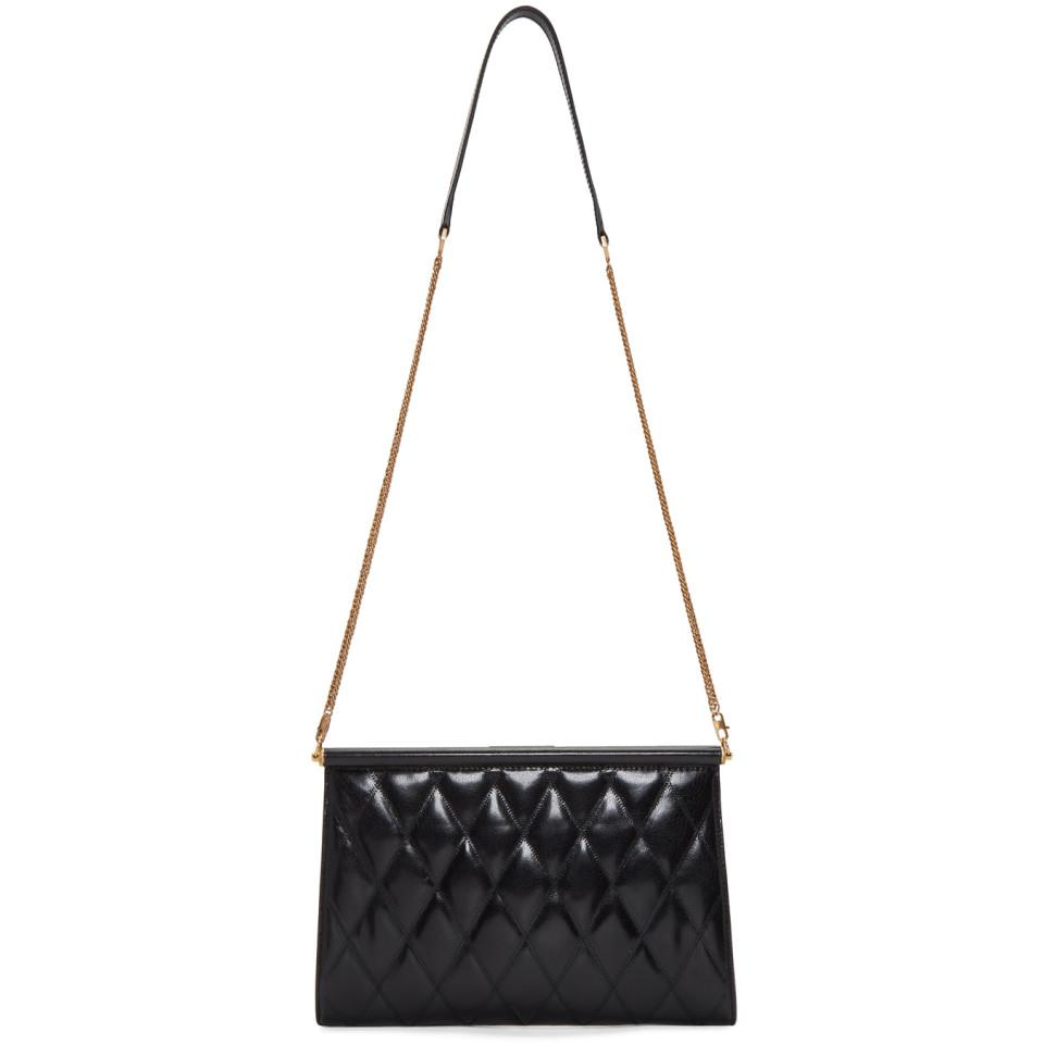 Lyst - Givenchy Black Quilted Medium Gem Bag in Black 7884a1a402f5d