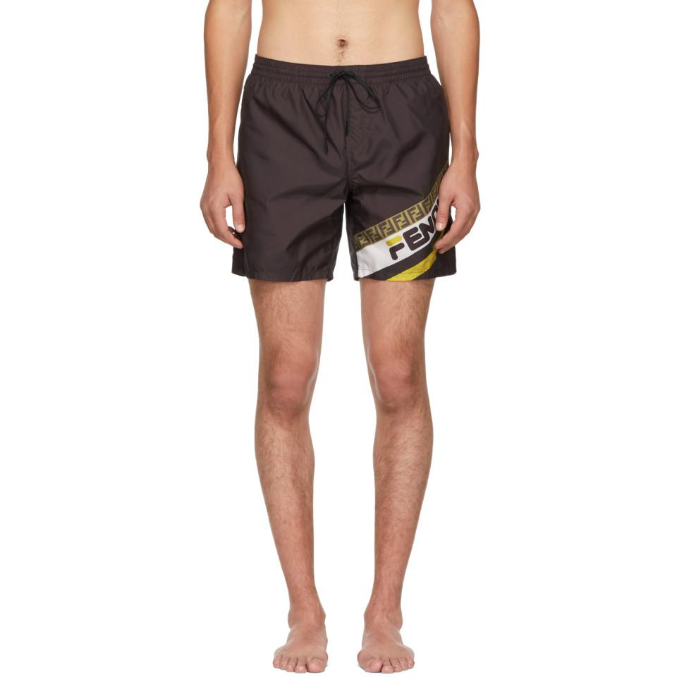 de87c75c80 Fendi - Black Mania Tech Swim Shorts for Men - Lyst. View fullscreen