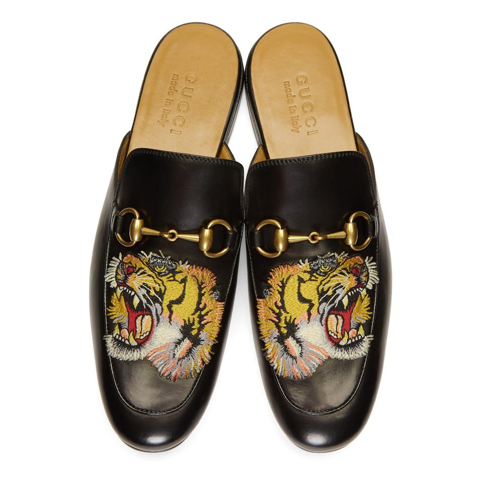 11b0646a9 Gucci - Black Tiger Princetown Slippers for Men - Lyst. View fullscreen