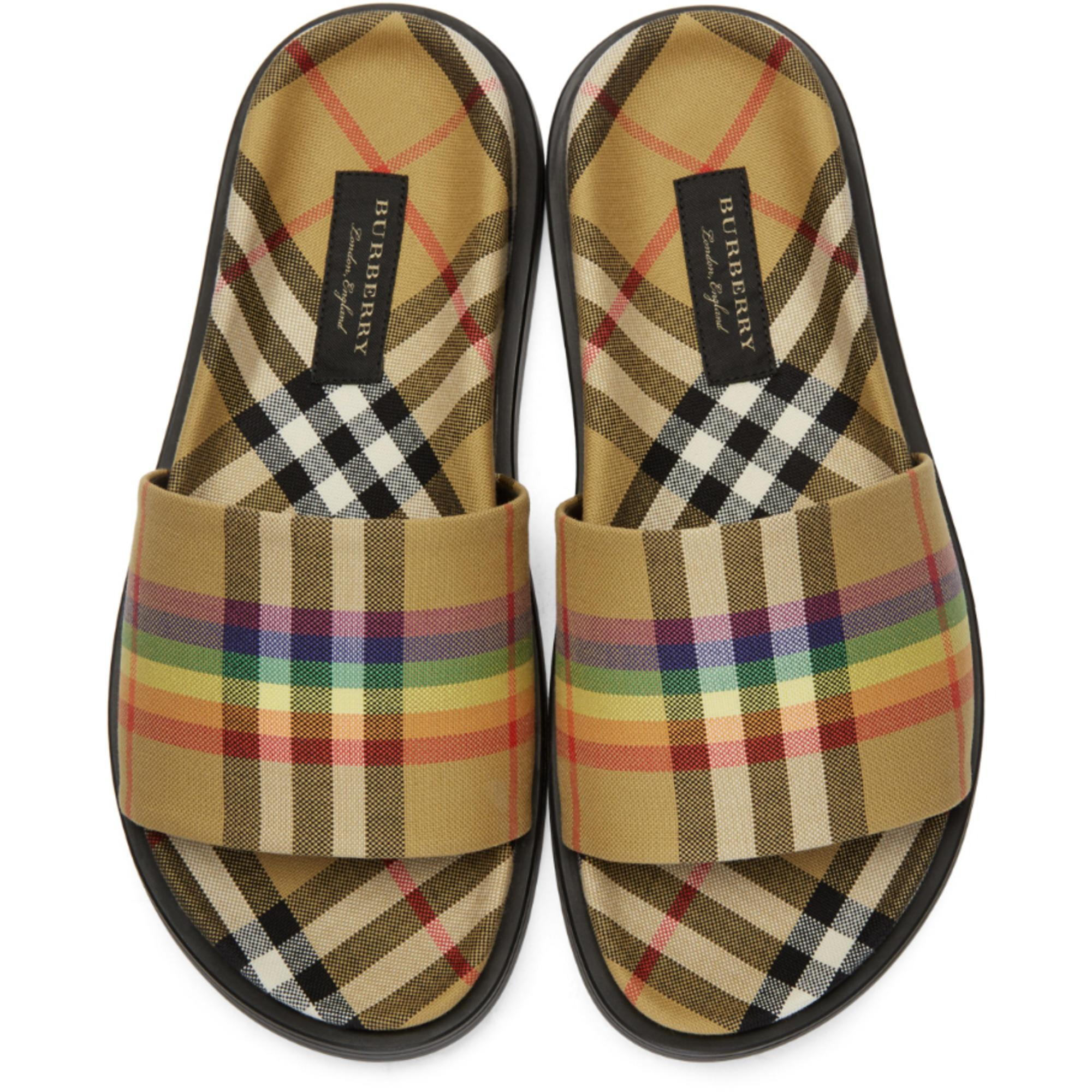 951d71831ea Lyst - Burberry Yellow Check Rainbow Slides in Yellow