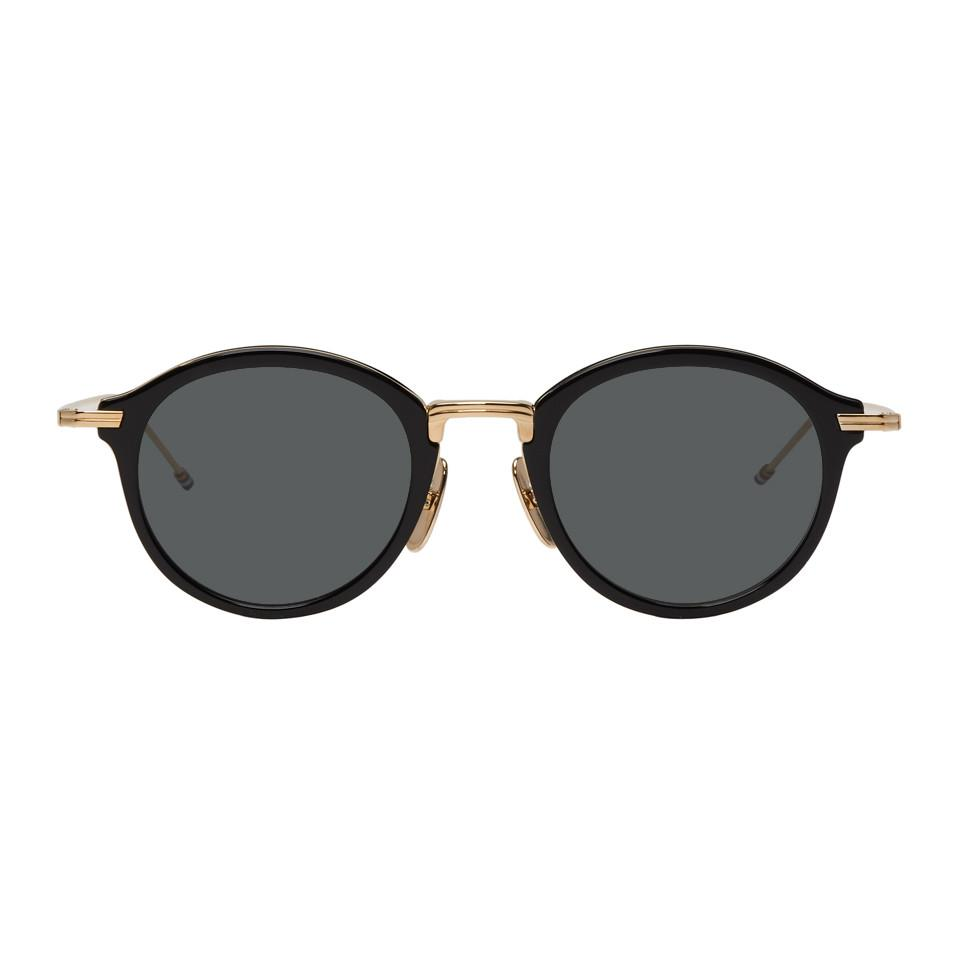 6f6f81537547 Lyst - Thom Browne Black And Gold Tbs908 Sunglasses in Black for Men