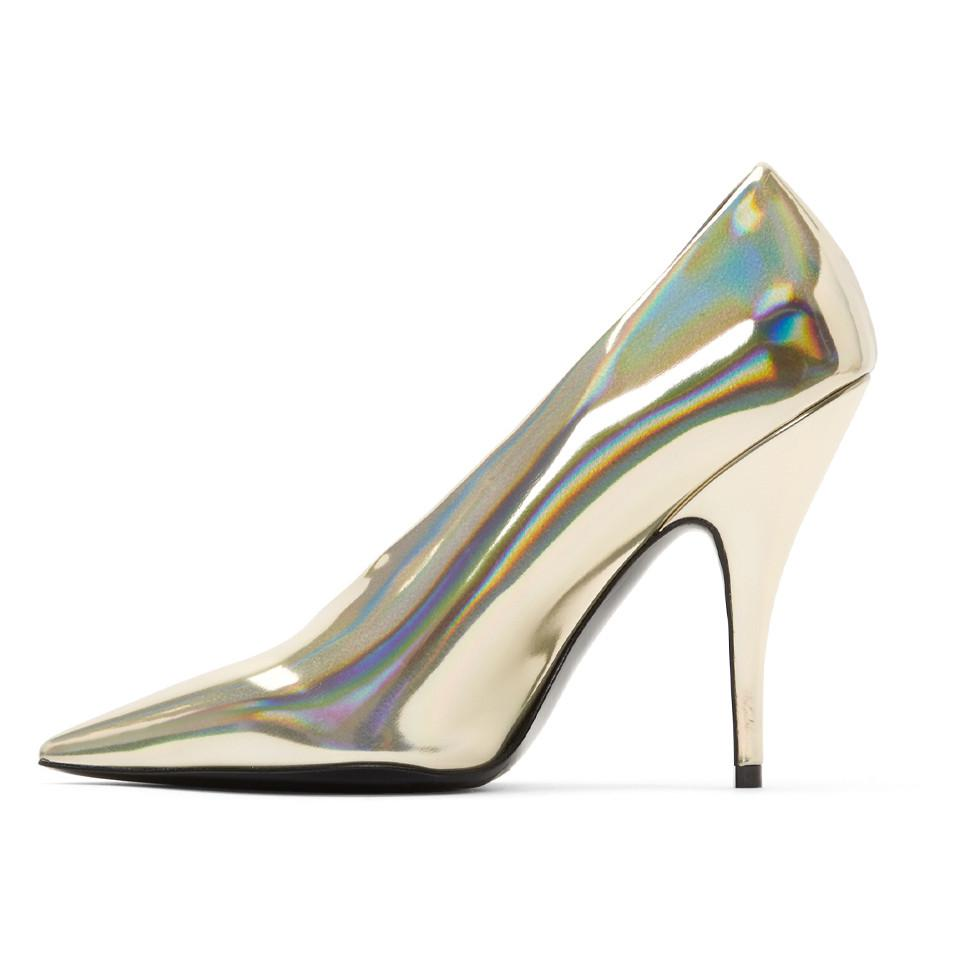 8cbf06be5d78 Lyst - Stella McCartney Gold Holographic Pumps