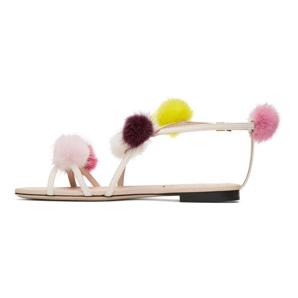 Free Shipping Limited Edition Low Cost Online Fendi Strapped Fur Pom Pom Sandals 8gopiaK8yE