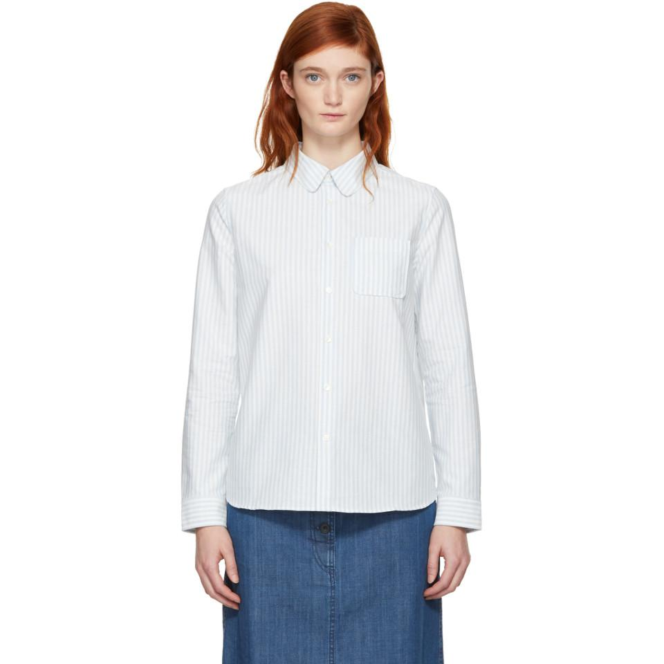Blue and White Striped Pocket Shirt A.P.C. Get To Buy For Sale Find Great Cheap Online vcnlrTquQv