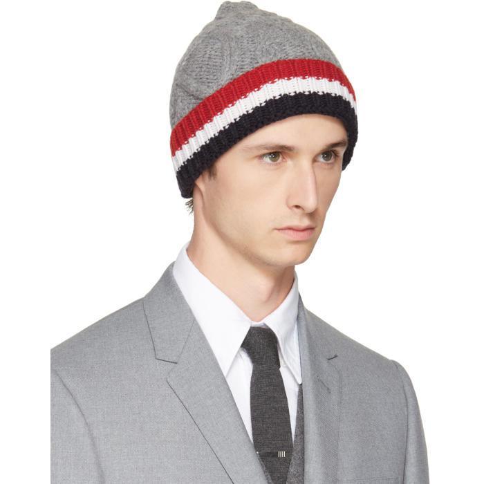 Grey Aran Cable Hat Thom Browne XqBezm7N