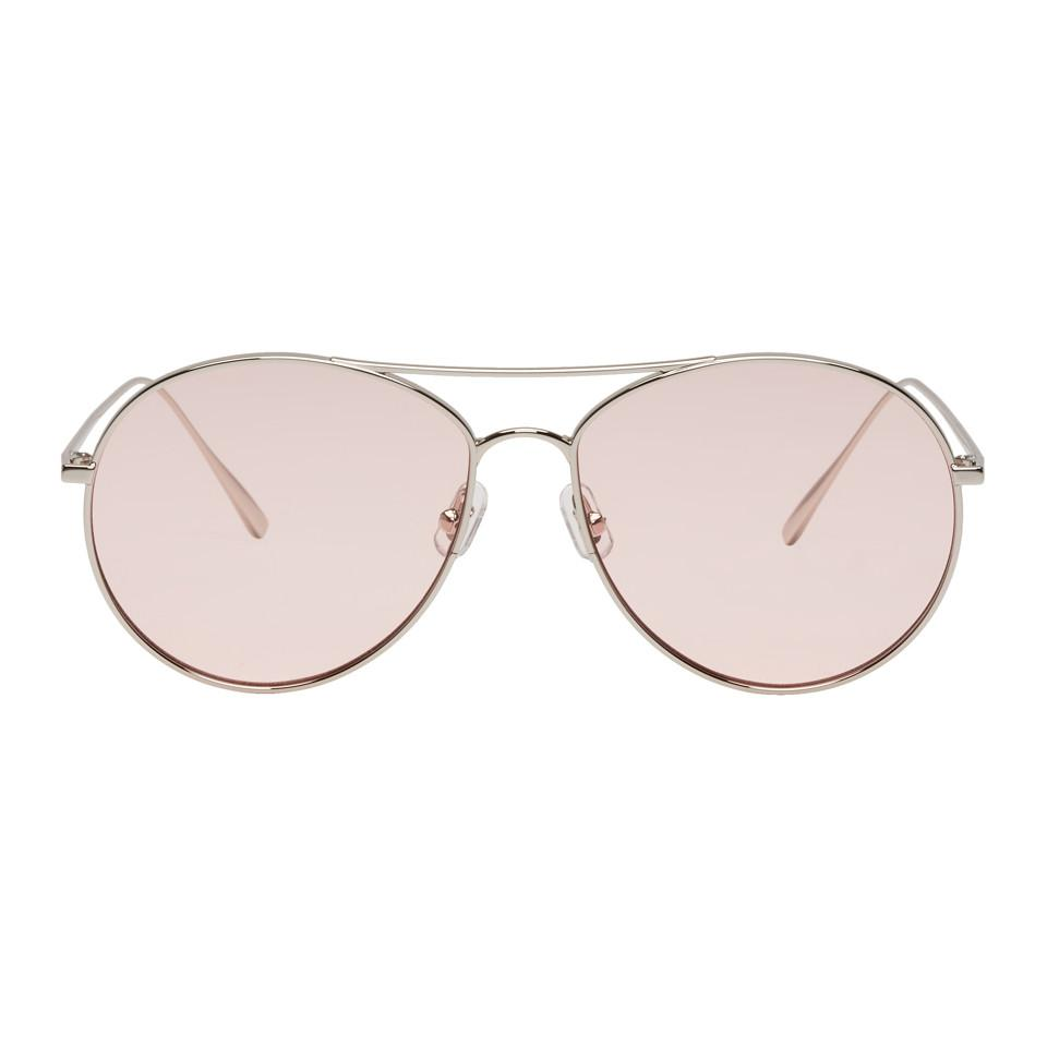 e18a05d1e63 Lyst - Gentle Monster Silver And Pink Ranny Ring Aviator Sunglasses ...