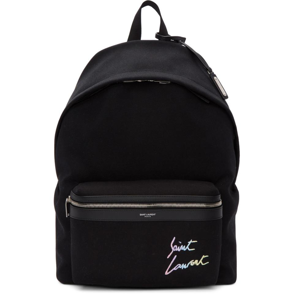 4f1f31047f50 Lyst - Saint Laurent Black Canvas Embroidered City Backpack in Black ...