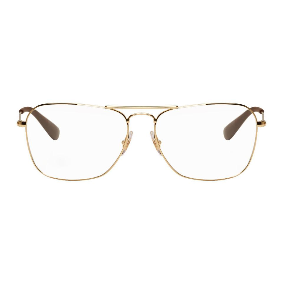 7204417970 Ray-Ban - Metallic Gold Square Rb3610v Glasses for Men - Lyst. View  fullscreen