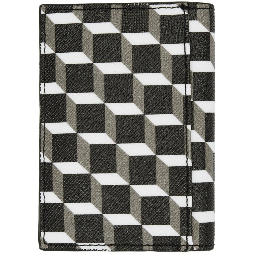 Black and White Canvas Cube Card Holder Pierre Hardy PCGVtVs