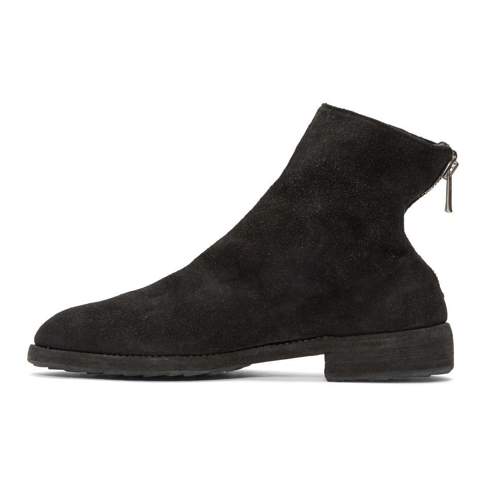 Guidi Black Suede Oxford Back Zip Boots Zi2DXr