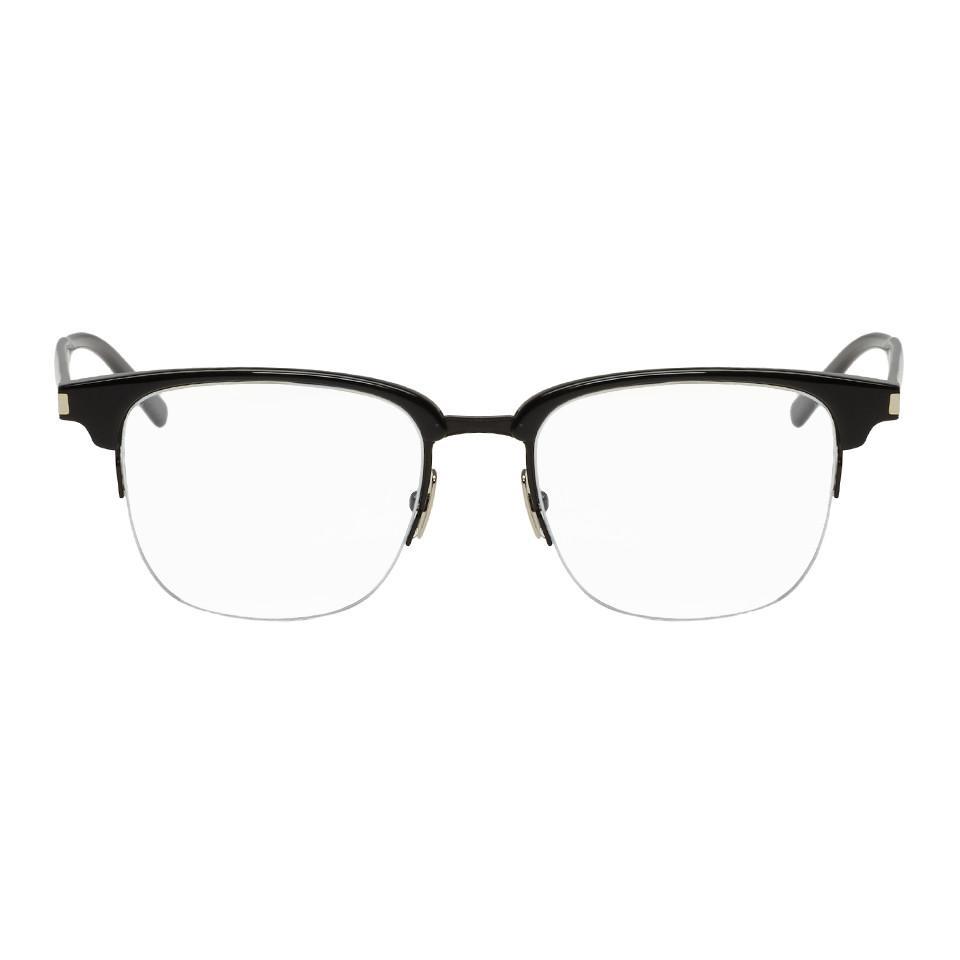 af779950328 Lyst - Saint Laurent Black Semi Rimless Glasses in Black for Men