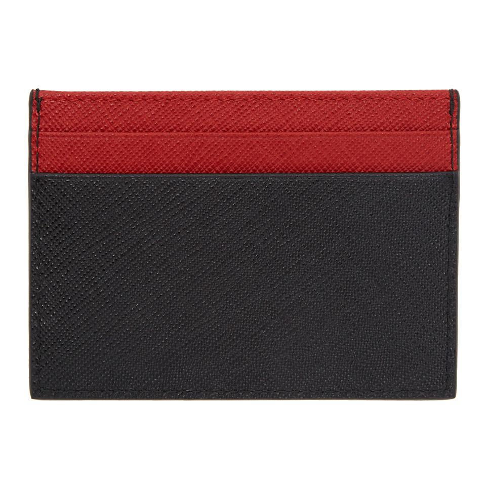 5794c357351e ... closeout cheap lyst prada black and red saffiano card holder in red for  men cc004 5a2a2 ...