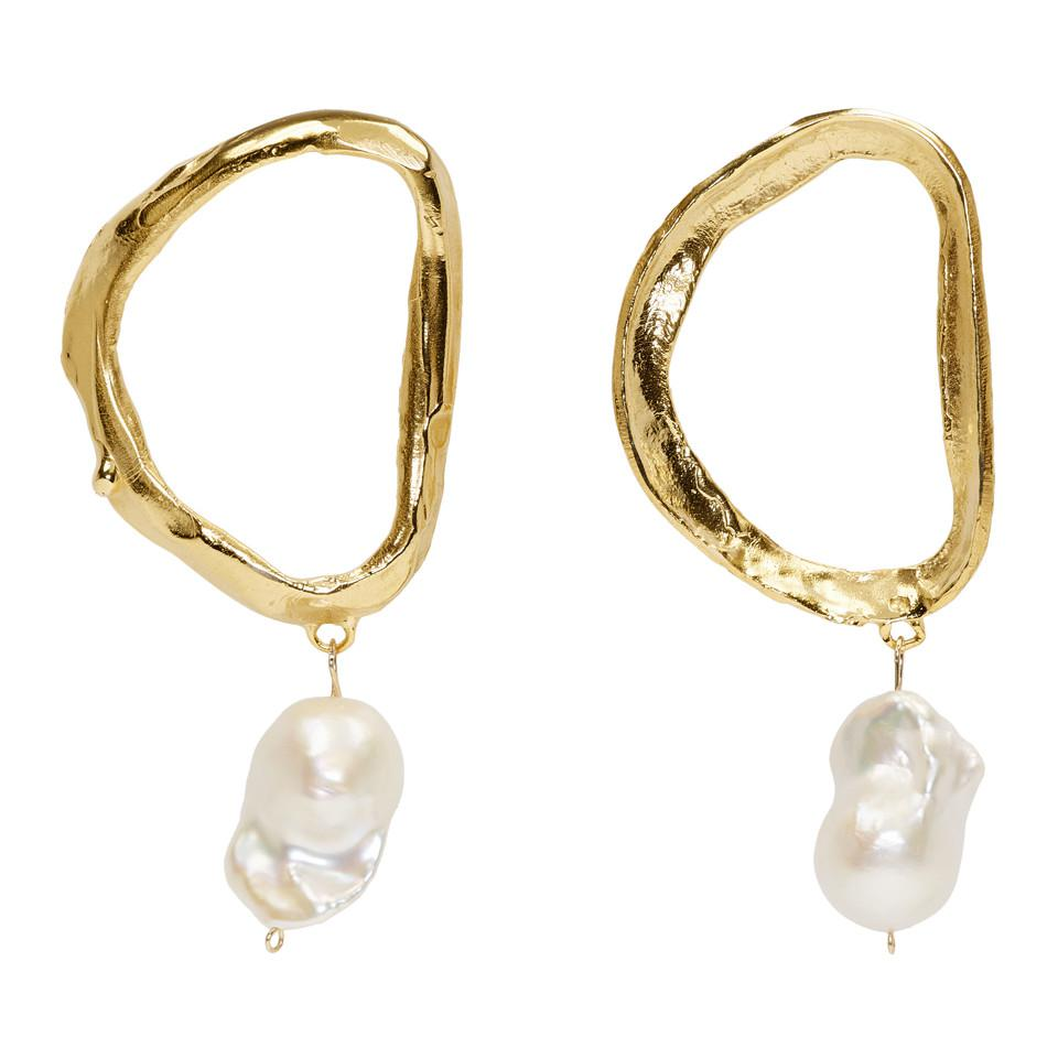 Gold Dantes Shadow Pearl Earrings ALIGHIERI uxao0CroG