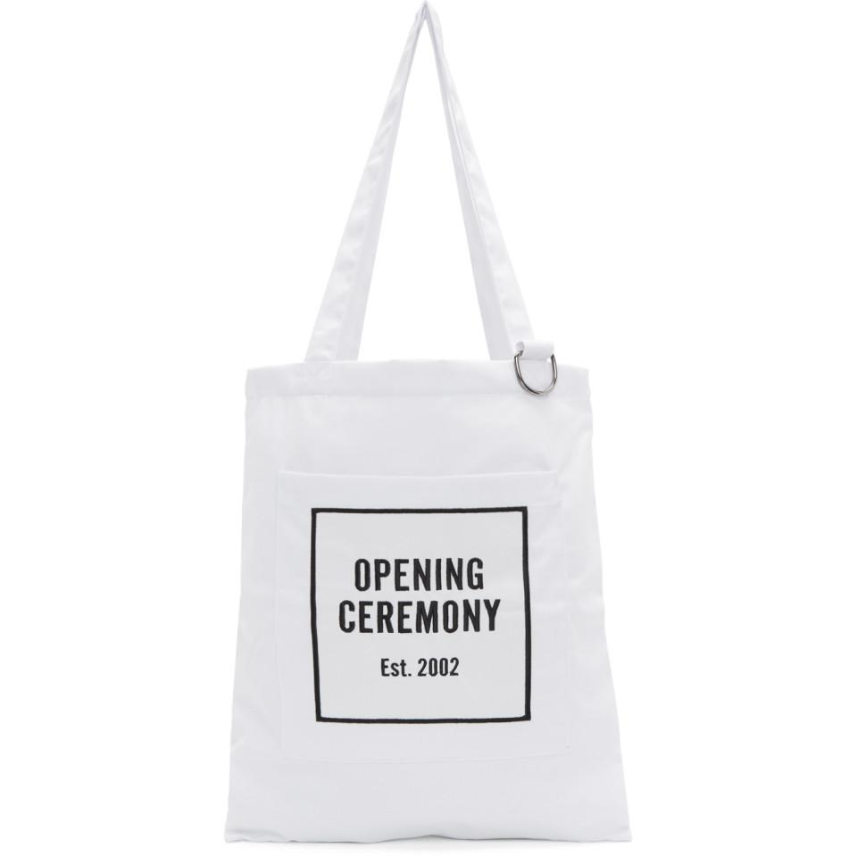 4dcef91c2 Opening Ceremony White Classic Logo Tote in White for Men - Lyst