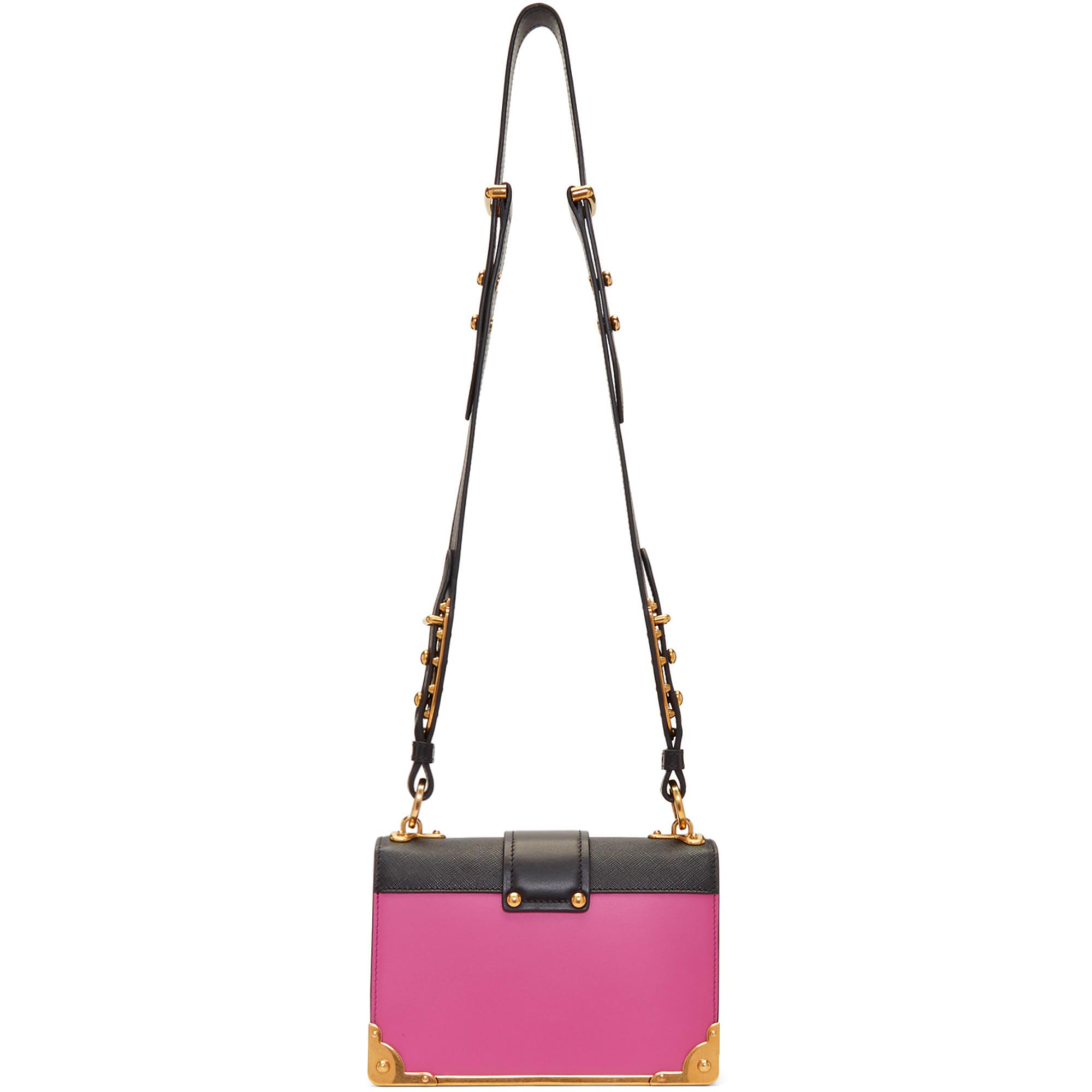 ccaac27f7aa6 Prada Pink And Black Cahier Bag in Pink - Lyst