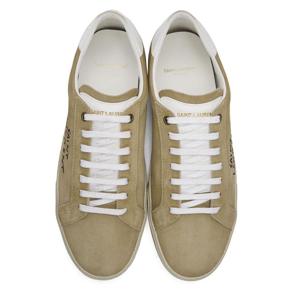 14ddae52420 Saint Laurent Beige Suede Writing Logo Sneakers in Natural for Men ...