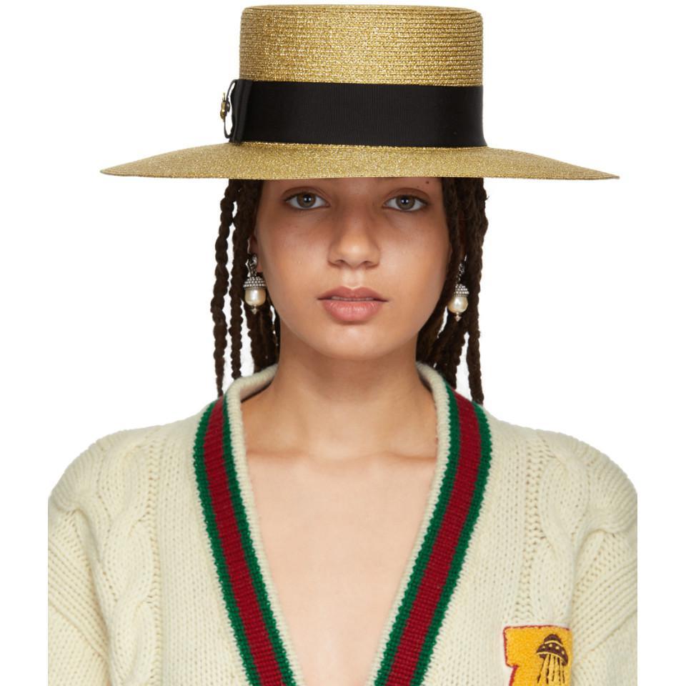 2ade2de136e Gucci Gold Alba Hat in Metallic - Lyst