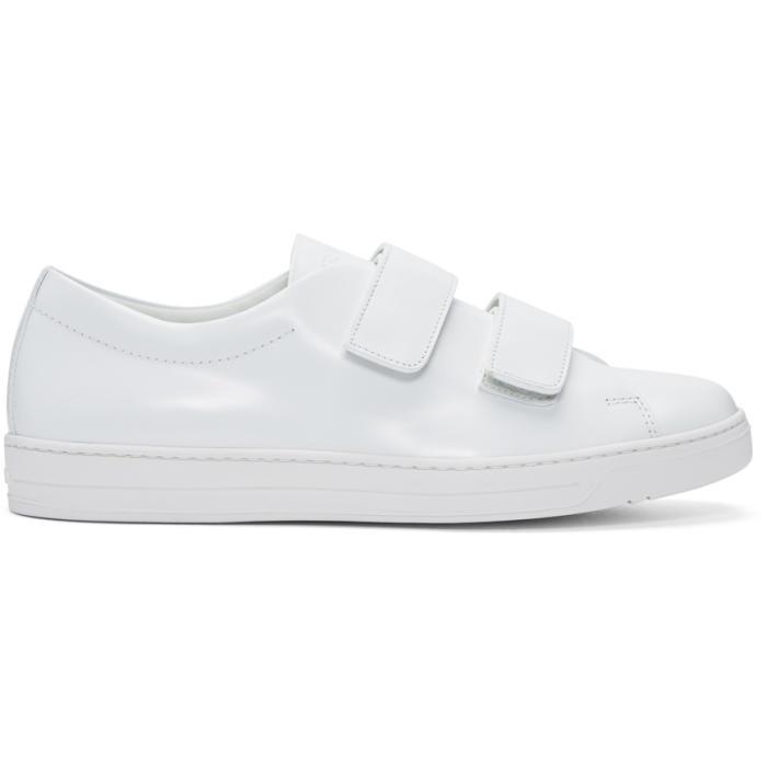 0fbe41fe8dbd Lyst - Prada White Two Strap Sneakers in White for Men