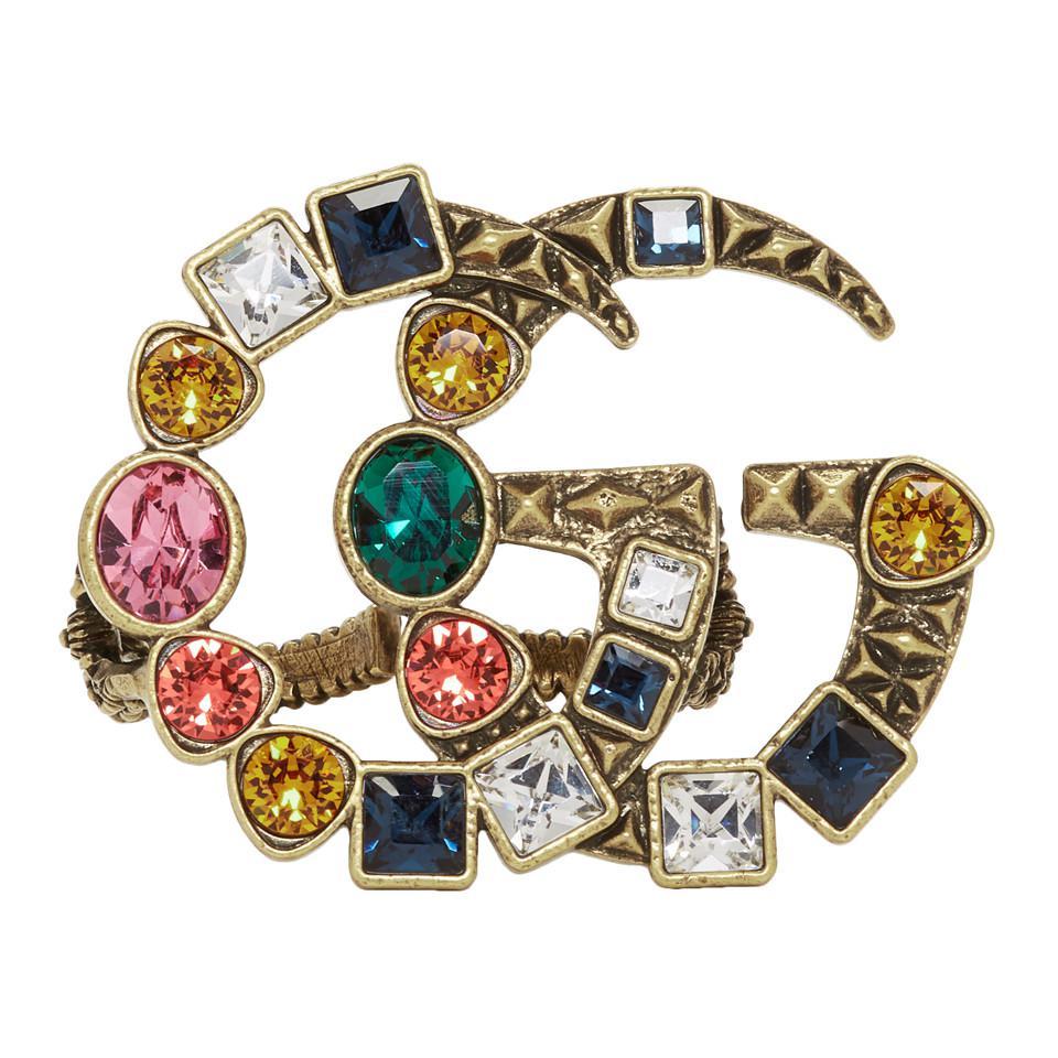 Gucci. Bague doree et multicolore Crystal GG Multi-Finger femme de coloris  métallisé 545aca7c867